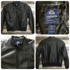 American Rag Moto Bomber Jacket Men's L Black Faux Leather