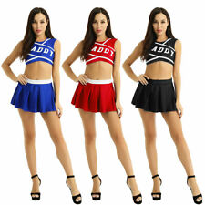 2Pcs Women Daddys Girl Costume Cheer Leader Uniform Dress Cheerleading Role Play