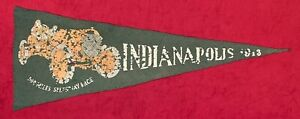 Very Rare Antique 1913 Indianapolis 500 Motor Speedway Pennant Early Auto Racing