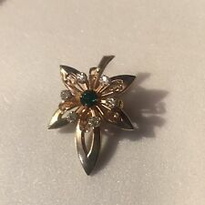"""VINTAGE PIN- Heart Floral Green Glass stone Gold Tone Pendant Brooch 1 3/4"""""""