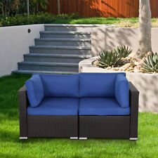 Wicker Patio Loveseat 2 PCS Outdoor Garden Furniture Set Rattan Corner Sofa