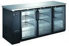 """SABA 72"""" Black Back Bar Beer Cooler Refrigerator, 3 Glass Doors, 24"""" Depth"""