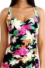 Seafolly Tankini AU 10 Black Full Bloom DD Cup Adjustable Singlet Ruched Front