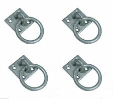 4 x Binnacle Ring Eye Plate Decking Rope Post Fitting Galvanise PLATED WITH RING