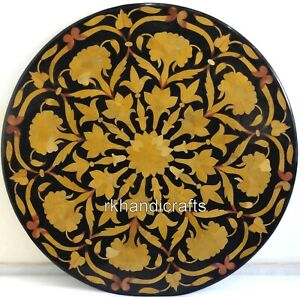 24x24 Inches Black Marble patio Table Top Stone Sofa Table with Pietra Dura Art