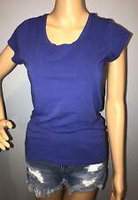 CYNTHIA ROWLEY Women's sz M Blue Pima cotton Tee shirt Top short Sleeve