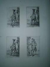Planche gravure  J-A Watteau figures de modes