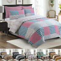 Duvet Cover Flannelette 100% Cotton Soft Bedding Set Single Double King Size UK
