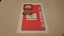 ATI all-in-wonder 128 quick installation guide win 95-98 USER'S MANUAL