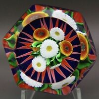 "SAINT LOUIS Beautiful Flowers Six Facets Art Glass Paperweight,Apr 2.75""Wx2.25""H"