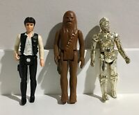 1977 Vintage Star Wars Action Figure Han Solo Chewbacca C3PO LOT Hong Kong