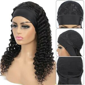 HeadBand Wig Curly Human Hair Deep Wave 8 inch 150%