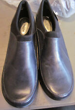 "NEW! $70  HUSH PUPPIES ""MOYEN"" WOMENS SLIP ON LEATHER SHOES BLACK 9M"