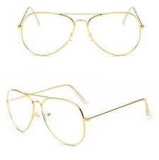 GOLD Clear Lens Aviator Glasses Classic Pilot Tear Drop Frame Men Woemen's