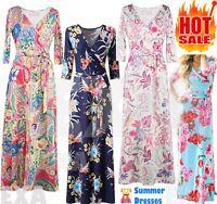 Women's Bohemian Maxi Dress Long Beach Summer Floral Wrap Evening Party Sundress
