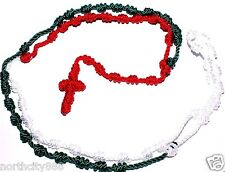 """Rope knotted Rosary Necklace Red White Green Cord Rosary beads Long 31"""" Handmade"""