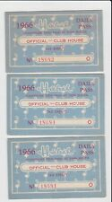 Vintage Lot of 3 1966 Hialeah Miami Florida Horse Race Pass Club House Official