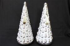 "MAX STUDIO HOME MERCURY GLASS SILVER & WHITE HOLIDAY CHRISTMAS TREES - 17"" - S/2"
