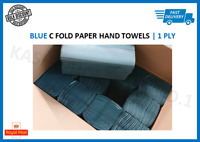 Blue Paper Hand Towels C fold tissues Multi Fold Premium Quality Single Ply Lot
