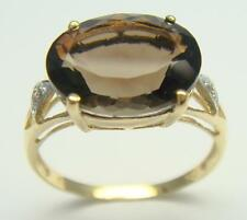 SYJEWELLERY 9CT YELLOW GOLD NATURAL SMOKEY TOPAZ & DIAMOND RING   SIZE N    R928