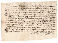 1681 Louis XIV royal notary manuscript letter ready to frame signature with dot