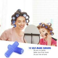 12pcs Self Grip Hair Rollers Cling Any Size DIY Hairdressing Hair Curlers UK