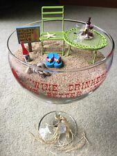 New Miniature Fairy Beach Scene Sand Garden In Large Wine Glass Terrarium
