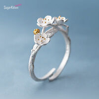 925 Sterling Silver Cherry Blossoms Flower Branch Open Band Ring UK N Adjustable