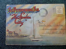 Vintage 1938 St. Petersburg Florida Sunshine City 18 Fold Out Postcard Mailer