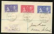 GILBERT & ELLICE 1937 CORONATION SET REGIST.COVER..COLONY P.O.OCEAN ISLAND LOCAL
