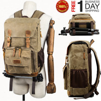 Vintage Camera Photography Backpack Waterproof Leather Canvas Bag Large Space KH