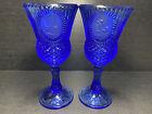 "2 Vintage Avon by Fostoria Glass 8"" Cobalt Blue Glass GEORGE WASHINGTON GOBLET"