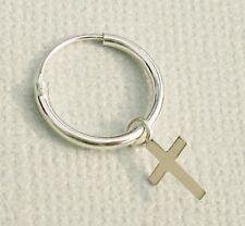 925 Sterling Silver Small Plain Drop Dangle Cross Hoop Sleeper Earring SINGLE