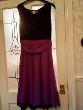 """Swing Dress Size 20 by Simply Be in Purple Black Lace Underskirt Full 43"""" Long"""