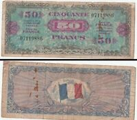 1944 France (Allied Military Currency 1st issue) 50 Francs Note