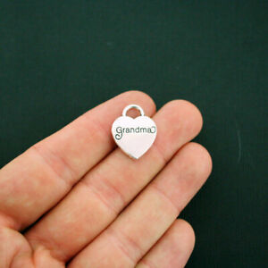 5 Grandma Heart Charms Antique Silver Tone 2 Sided - SC5817