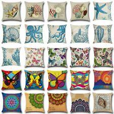 Vintage Ocean Cotton Linen Pillow Case Sofa Throw Cushion Cover Sofa Home Decor