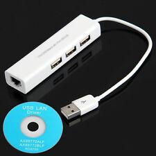 Schlussverkauf! 3 Anschlüsse HUB USB für RJ45 Lan Karte Ethernet Netzwerk Kabel