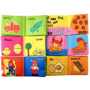 6PCS Soft Baby Cloth Book Early Educational Newborn Crib Toys for 0-36 Months
