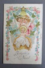 JOYEUX NOEL MERRY CHRISTMAS. ENFANT JESUS. ANGE. CARTE POSTALE ANCIENNE GAUFREE.