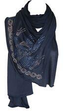 Navy Blue Jersey Diamante Stretchable Scarf Wrap Shawl Stole Hijab Head Scarf