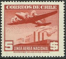 CHILE 1942 AIR MAIL STAMP # 289 MNH wmk 3 AVIATION