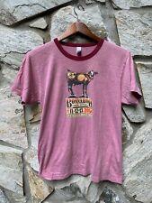 Vintage 2004 Bonnaroo Music Festival Concert Cow Ringer Shirt Red Size Medium