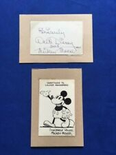CUT AUTOGRAPH OF WALT DISNEY ALONG WITH STUDIO ARTIST INKED-IN MICKEY MOUSE CARD