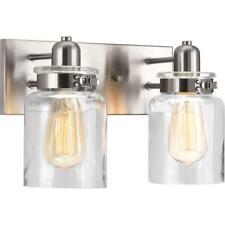 Progress Lighting Bathroom Vanity 2-Light Brushed Nickel Glass Shades Hardwired