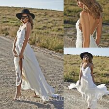 Bohemian Spaghetti Straps Lace Appliques Beach Wedding Dresses Boho Bridal Gowns