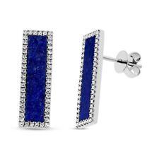 14K White Gold Lapis Lazuli Diamond Bar Stud Earrings Rectangular Drop Pushback