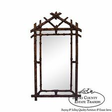 Vintage Faux Bamboo Hollywood Regency Gold Frame Wall Mirror