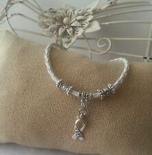White Leather Bracelet Hope Ribbon Awareness Silver Dangle Charm Jewelry Unisex