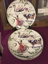 """Better Homes & Gardens 12 DAYS OF CHRISTMAS Salad plate set(s) of 4, 8 1/4"""", New"""